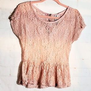 RANSOM PINK LACE BLOUSE LARGE